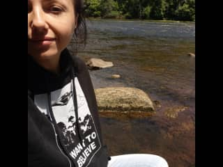 Me sitting by a creek in Acworth this past spring