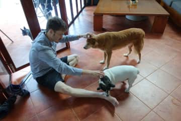 Helon with Mina and Mr. Jenkins. Mr. Jenkins loved licking people's .. he couldn't get enough of it!!