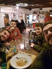 Like a typical Italian, I love eat and drink some good wines (with my friends and my older brother in this photo)