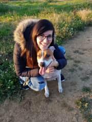 Cristina loving her dog