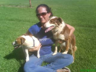 Me with my two dogs Chocolate & Paisley