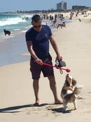 Roger walking Winston on the dog beach WA
