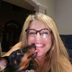 Oscar Mayer Weiner giving Dina, as a blond,  kisses