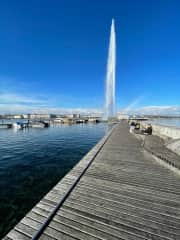 The Jet d'Eau in Geneva which is only a 25 minute drive from our home.