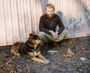 Visiting the old home/farm that burned in the Valley Fire of 2015, with my trusty companion Mika the Wonder Dog