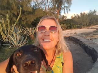 Me and my beloved rescued street dog Luxmi on the beach on the  beautiful island of Mauritius