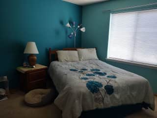 This is the spare bedroom, queen bed. Pic is dark because of light in the window.  It is across the hall from the bathroom