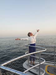 Mahalia after being surround by a stampede of 1,200 Dolphins