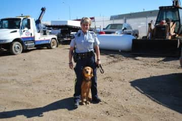 K-9 Kerry and myself in Northern Alberta after just completing a drug search
