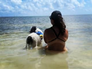 Me with my dog, Sabi on the beach