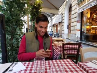 my son Annon in Rome