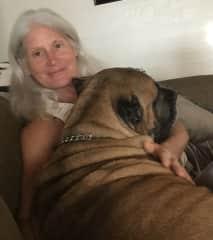 Julie and my dog Valentine (deceased)