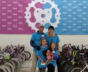 Me and my family volunteering at Free Bikes 4 Kidz.