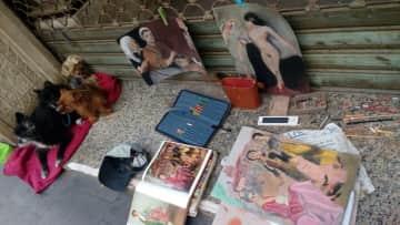 MInding an Artist's doggies and his art in Vegueta, Las Palmas.