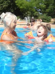 Swimming with grand daughter