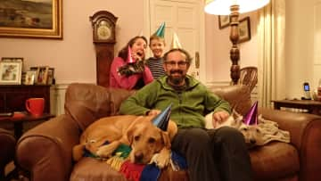 Celebrating a birthday with Alphie, Mollie and Kevin the cat. (Scotland)