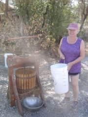 Karen crushing grapes