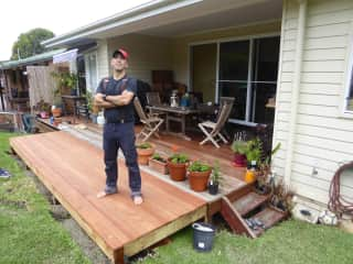 Carlos, proud of the newly completed deck