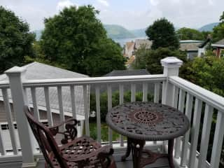 Deck with view of Hudson River