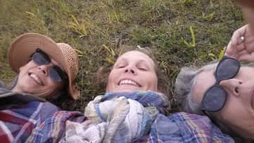 Break on a hike with friends
