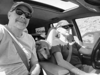 Jo Ann, David and Browner. The ultimate road trip.