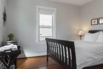 Back bedroom. Queen-sized, memory foam mattress.