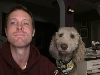 Here's a selfie check-in with Darby to her owner on a THS sit.