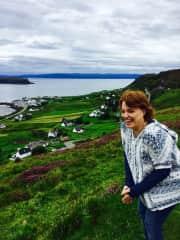 Traveling! Pam near Isle of Skye in Scotland