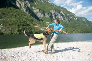 Me and my dog Louie at our local Bohinj lake beach