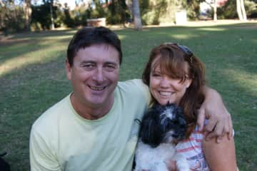 Mark and Cindy with our late fur baby Chloe
