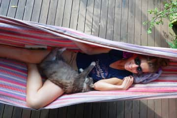 Amandine with Bella, while house-sitting in Huskisson, Australia