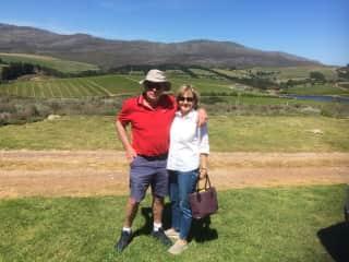 John and me visiting a winery in Hemel en Aarde valley , South Africa
