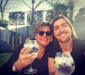 Mark and Lucas in the back garden with G&T's