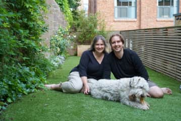 Karen and Jeff with Woody the Wheaten