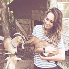 Caitlin after milking mama goat!