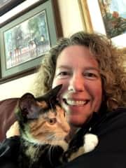 Amanda with Bella the calico kitty!