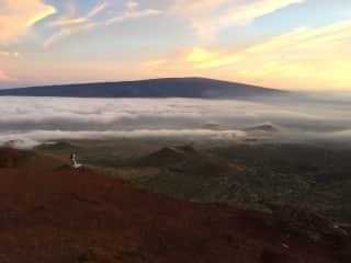 Quietly taking in epic view. Mauna Kea at sunset (Big Island, Hawaii)