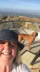 Linda with Snoop up Te Mata Peak