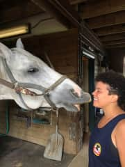 Taylor's horse, Oliver! (He loves giving lots of slobbery kisses)