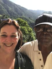 Blue Mnts Jamaica with my new pal who is the innkeeper