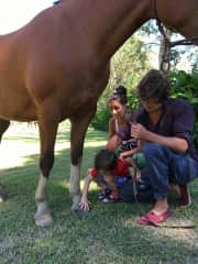 here with Maria, Augusto and I. Showing him hoy to touch a horse.