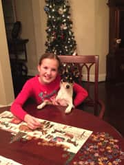 Lauren and Lily working on our traditional Christmas puzzle