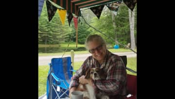 """Camping trip with our beloved """"Reddy"""" our Cavalier King Charles rescue that sadly passed Dec 2020.  She was a love and I miss her tons."""