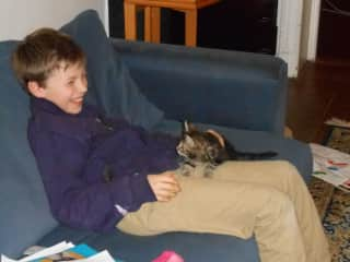Maxime with cat