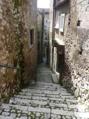Stairway in the historic center, steeper than most.