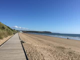 Part of the boardwalk at Claycastle beach