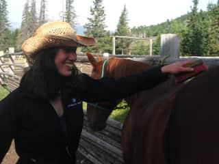 Working at a hike/horse camp in Ya Ha Tinda, Alberta.