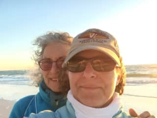 With my mother in Florida on a chilly beach walk