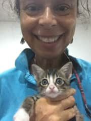 Catherine with Pipkin, a rescued kitten