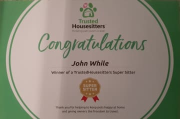 Awarded the Trusted House Sitters 'Super Sitters' appellation in 2016